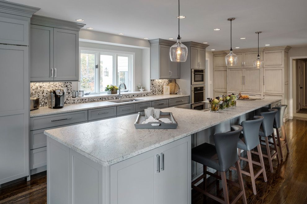 Asko Appliances for a Transitional Kitchen with a Wolf Transitional Convection Steam Oven and Gray Painted Kitchen by Platt Builders