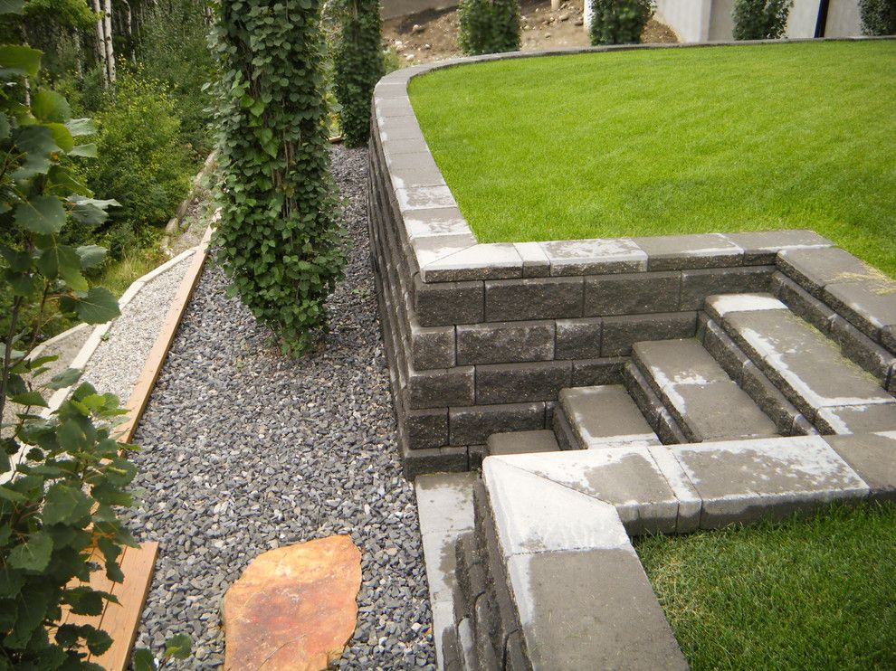 Aspen Contracting for a  Landscape with a  and Interlocking Retaining Walls by Blue Aspen Contracting