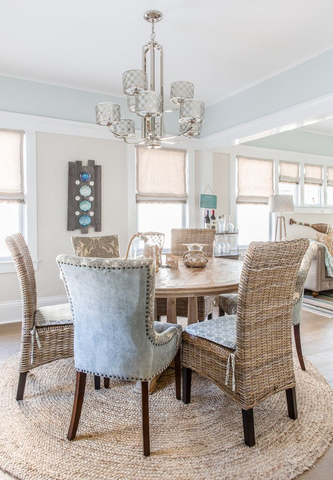 Atg Lighting for a Beach Style Dining Room with a Medium Hardwood Flooring and Shore Delish by Cmm Construction Inc.