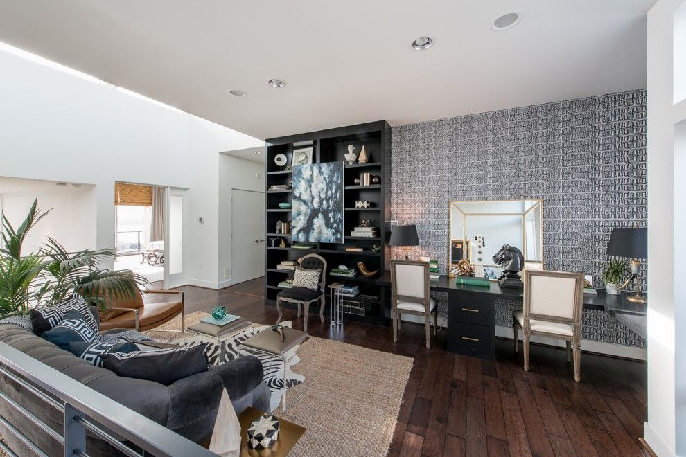 Atg Lighting for a Eclectic Home Office with a Black and Atg Showhouse Home Office by Carolina v. Gentry, Rid