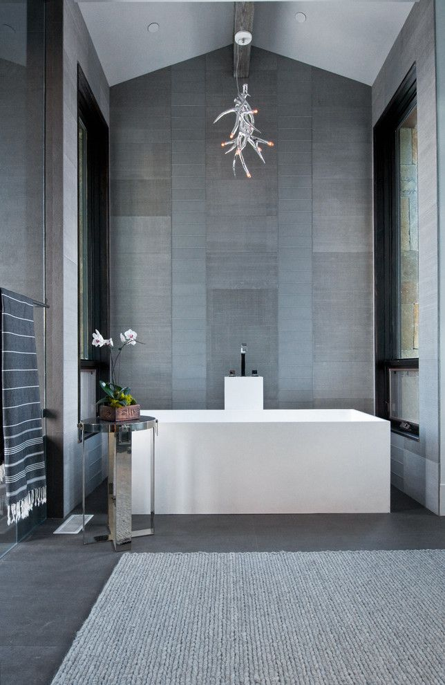 Atlas Flooring for a Contemporary Bathroom with a Rectangular Bathtub and Deer Valley by Sapp Development Group