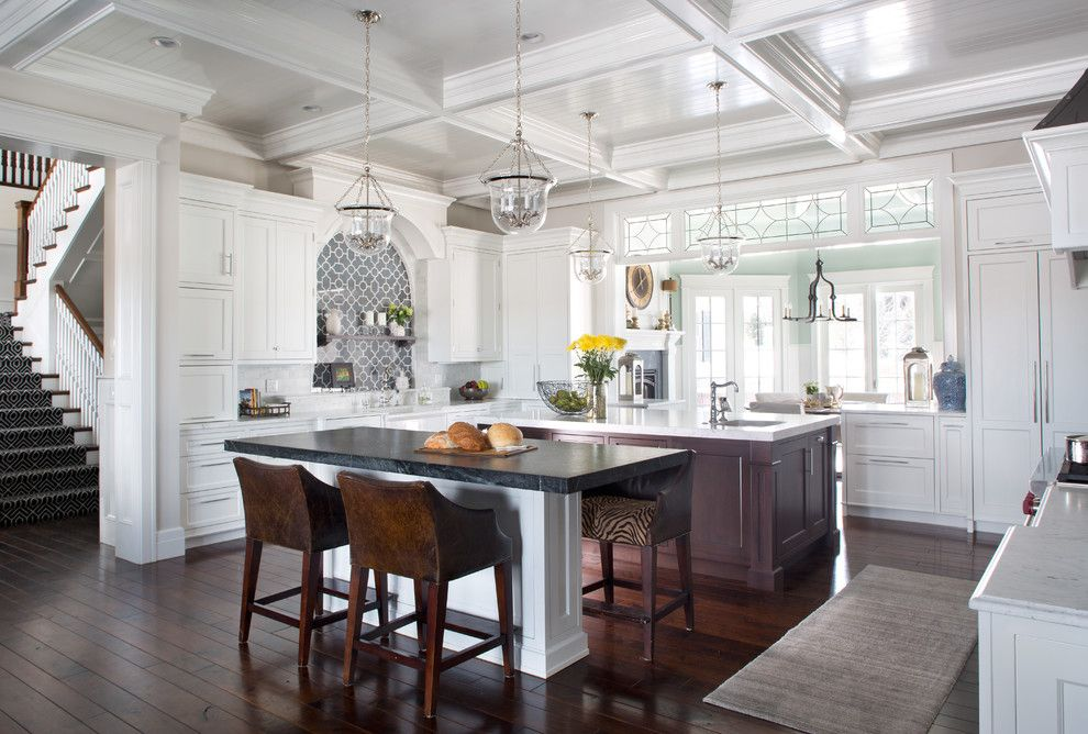 Atlas Flooring for a Traditional Kitchen with a Pendant Lights and Clean and Classic by Angela Otten; Wmohs Showrooms Inc