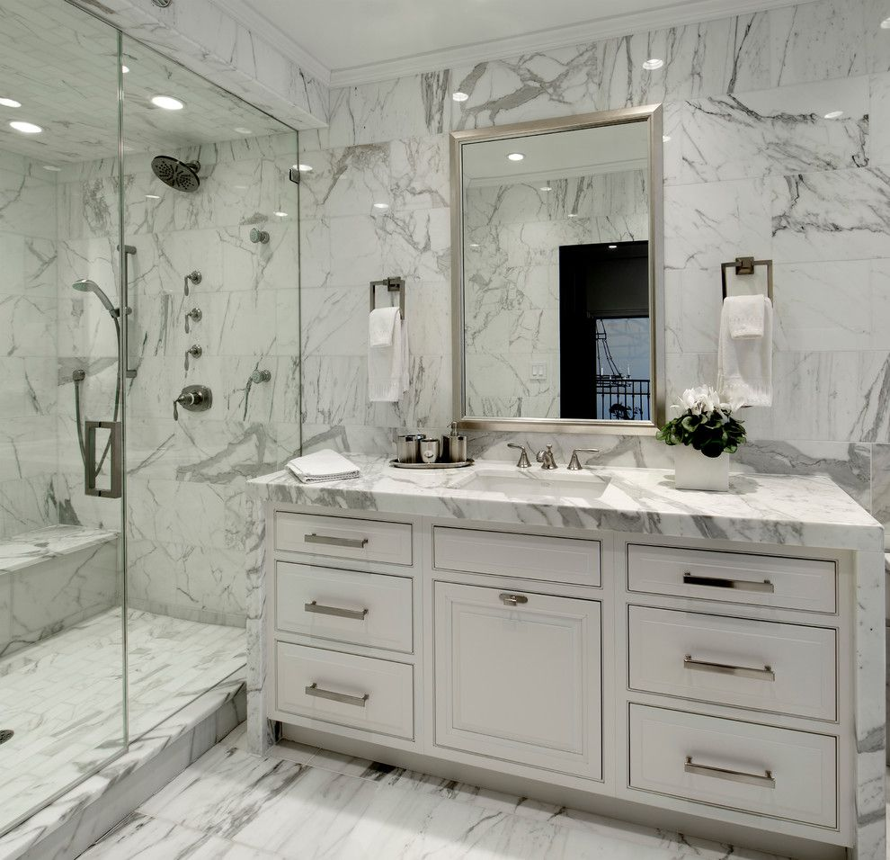 Atlas Flooring for a Transitional Bathroom with a Widespread Faucet and Cedar Kitchen + Bath by Dresner Design | Chicago Custom Kitchens Cabinets
