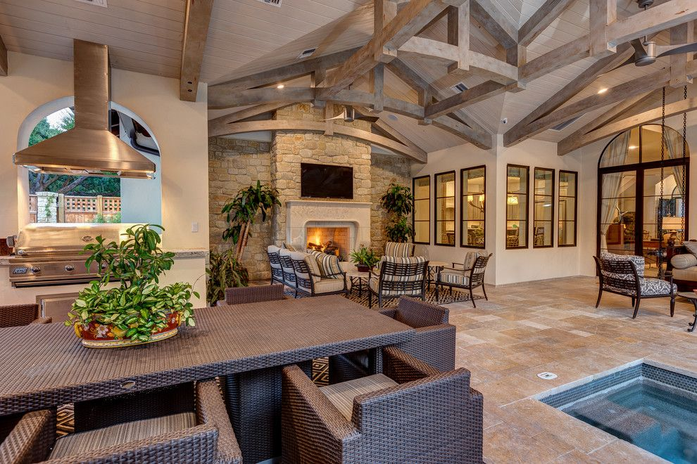 Atlas Roofing for a  Patio with a Hot Tub and Lynbrook   Houston, Tx. by Connie Anderson Photography