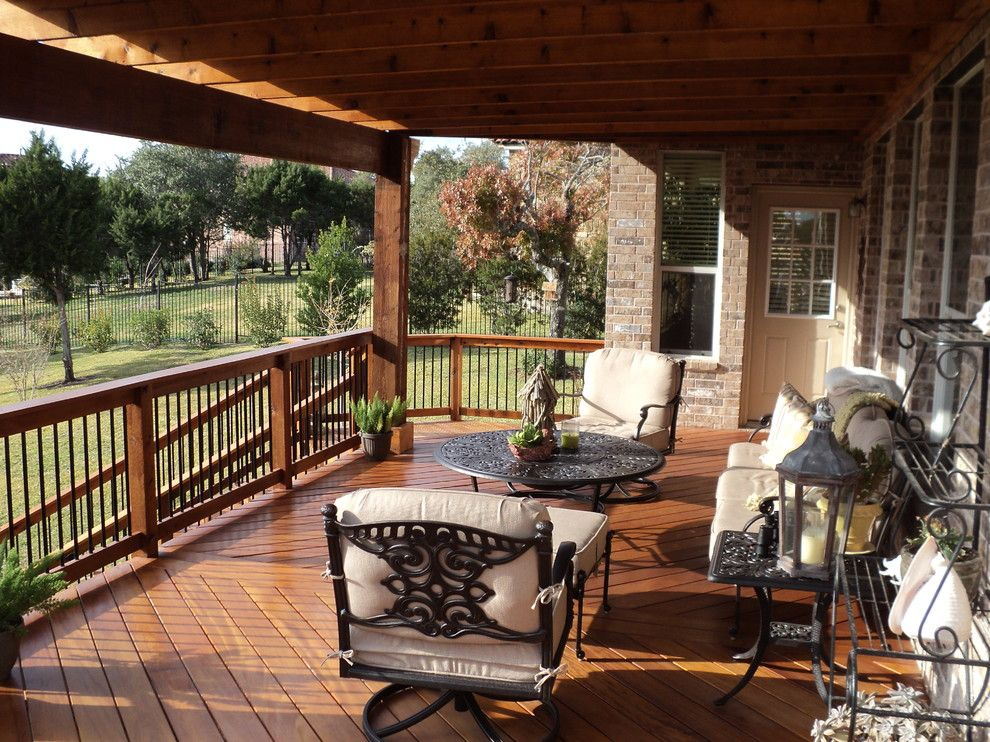Austin Furniture Depot for a Traditional Porch with a Decks Austin and Garapa Decking with Oklahoma Stone Patio and Cedar Pergola by Centex Decks and Outdoor Living