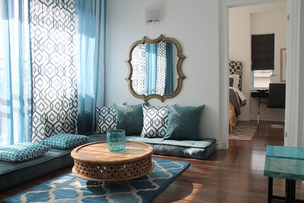 Avalon West Chelsea for a Contemporary Living Room with a Floor Seats and Moroccan Inspired Condo (2013) by Rmi   Rebecca Mitchell Interiors