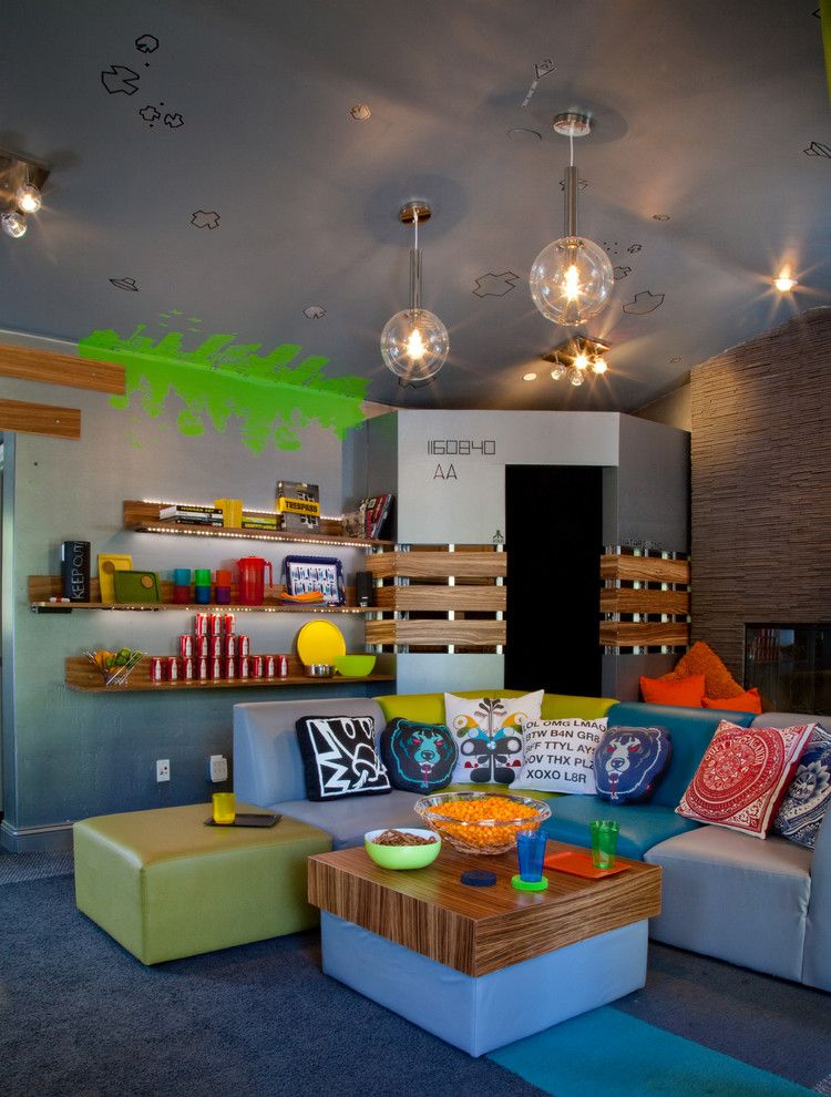 Avanti Furniture for a Eclectic Kids with a Teal and Teenage Video Lounge by Kropat Interior Design