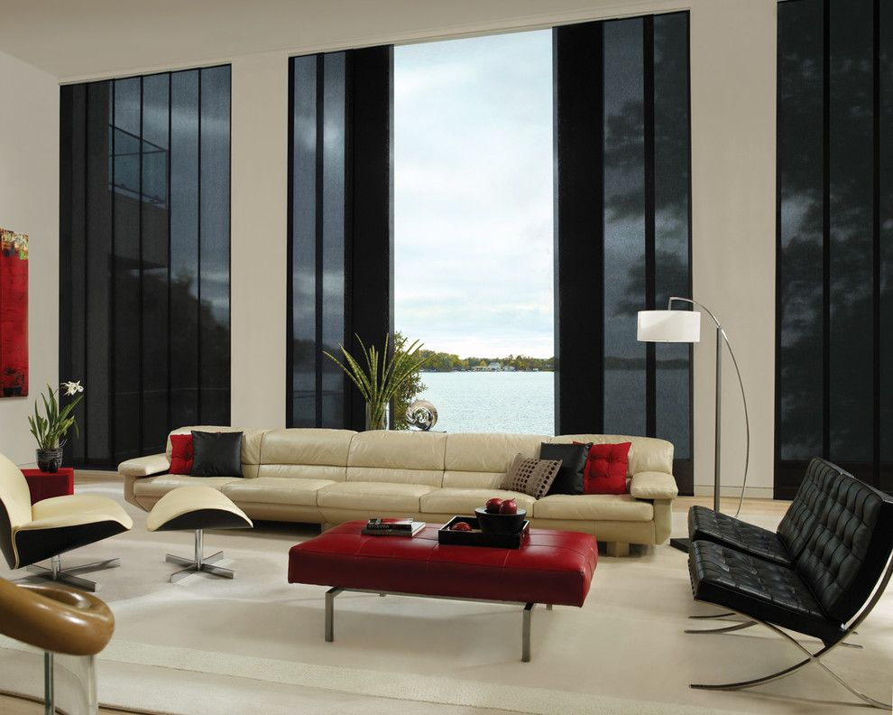 Avanti Furniture for a Modern Living Room with a Leather Chair and Window Coverings by Lisa Scheff Designs