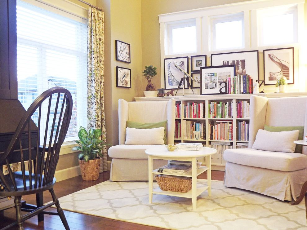 Avanti Furniture for a Shabby Chic Style Living Room with a Window Treatment and Our Mini Manor by Ashli