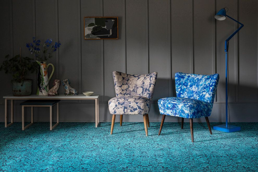 Axminster Carpet for a Contemporary Living Room with a Quirky B and Alternative Flooring   Liberty Fabrics Quirky B Strawberry Meadow Peacock by Alternative Flooring