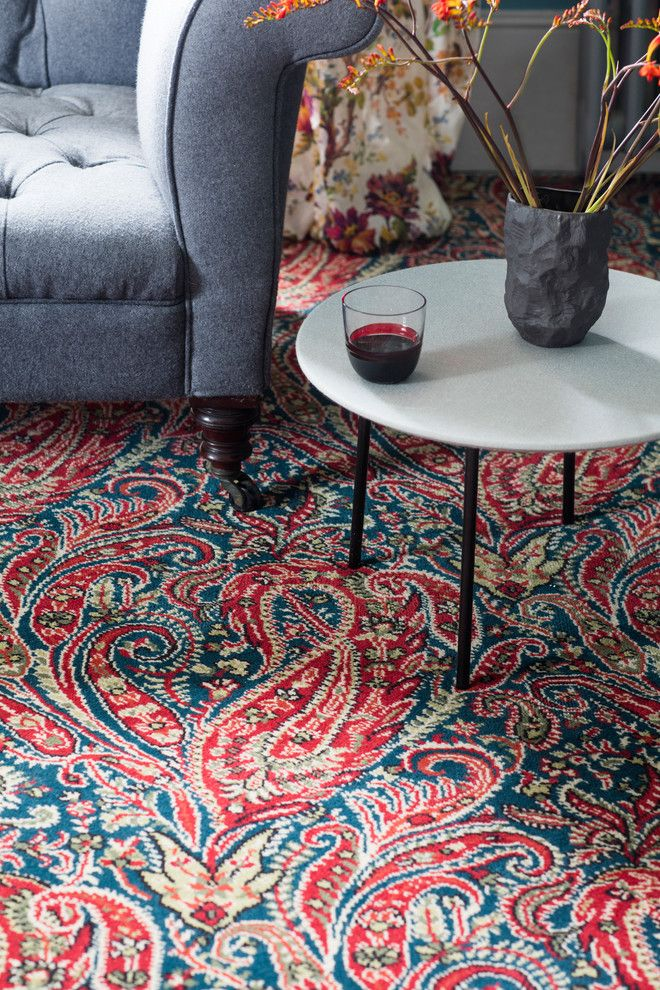 Axminster Carpet for a Contemporary Living Room with a Round Coffee Table and Alternative Flooring   Liberty Fabrics Quirky B Felix Raison Classic by Alternative Flooring
