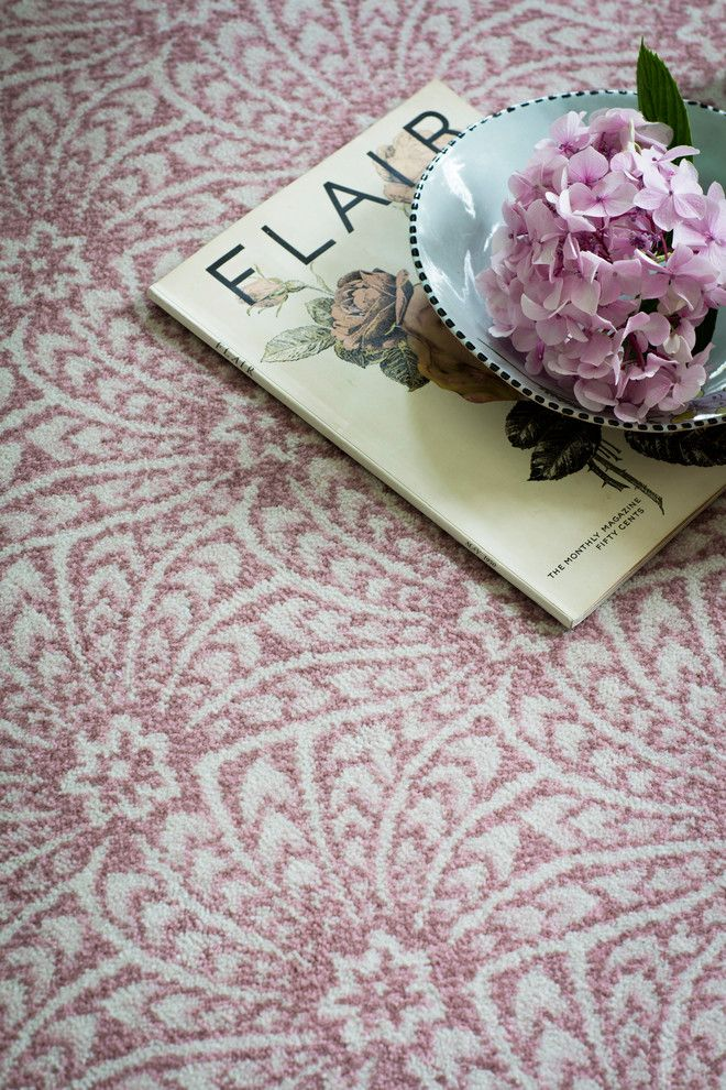 Axminster Carpet for a Farmhouse Bedroom with a Shell Pattern and Alternative Flooring   Liberty Fabrics Quirky B Capello Shell Coral by Alternative Flooring