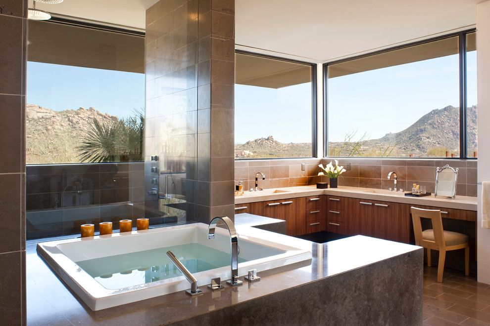 Az Tile Tempe for a Modern Bathroom with a Whirlpool Tub and Collector's Paradise | Estancia by Drewettworks