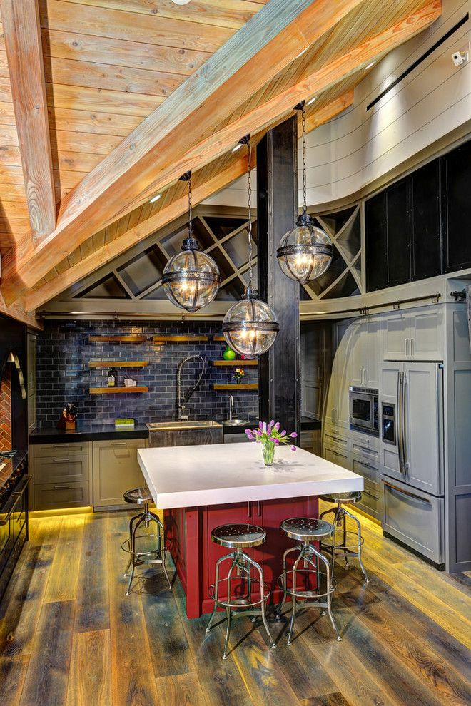 Az Tile Tempe for a Rustic Kitchen with a Rustic and Mountain Retreat by Anne Sneed Architectural Interiors