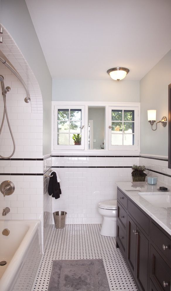 Az Tile Tempe for a Traditional Bathroom with a Traditional and a Fresh Take on Tudor - Guest Bathroom by TreHus Architects+Interior Designers+Builders