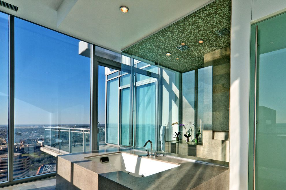 Azure Dallas for a Contemporary Bathroom with a Mosaic Tile and Azure Penthouse by Glenn Johnson Photography