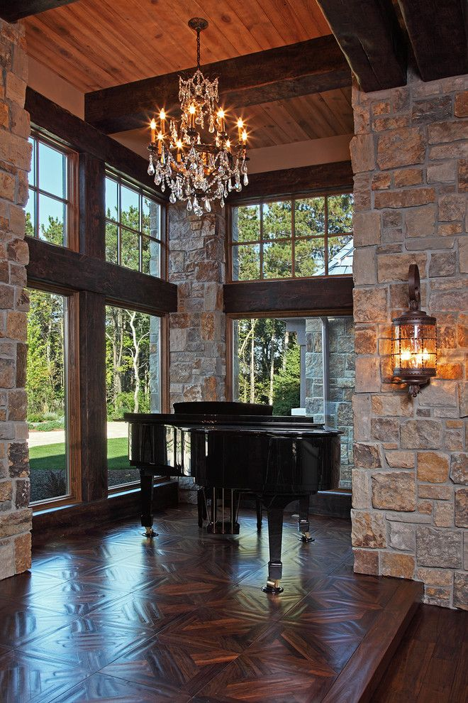 Baby Grand Piano Dimensions for a Rustic Entry with a Exposed Wood Beams and Old World Deer Lodge Estate by James Mcneal Architecture and Design
