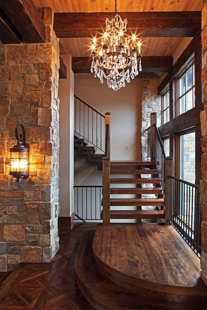 Baby Grand Piano Dimensions for a Rustic Entry with a Piano in Entryway and Old World Deer Lodge Estate by James Mcneal Architecture and Design