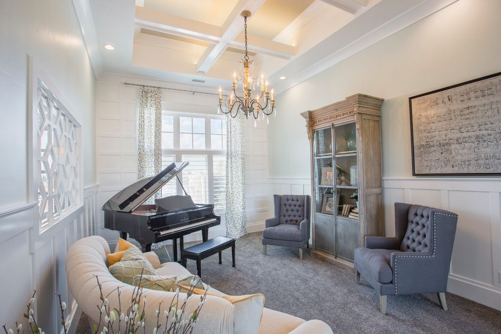 Baby Grand Piano Dimensions for a Transitional Family Room with a Traditional Design and 2014 Parade Home - Lehi by Joe Carrick Design - Custom Home Design