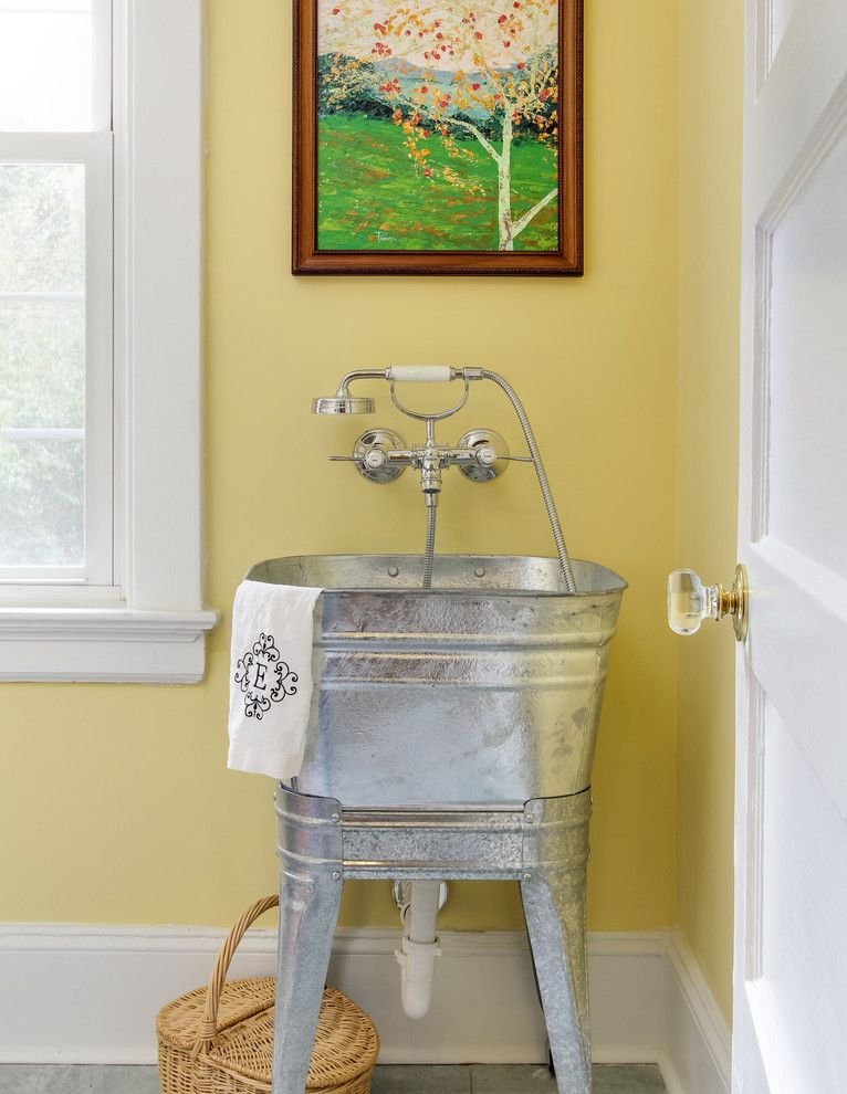 Baby Wiener Dogs for a Traditional Laundry Room with a Yellow Walls and Hansgrohe by Hansgrohe Usa