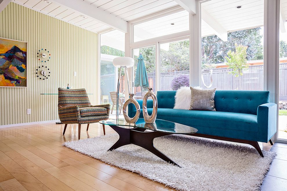 Back Page San Francisco for a Midcentury Living Room with a Exposed Rafters and San Mateo Highlands Eichler Home Tour 2014 by Amyvogel