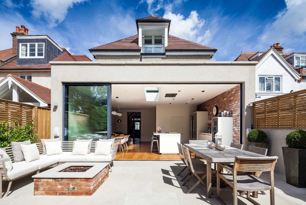 Backyard Bbq Pit for a Contemporary Patio with a Pocket Doors and Ashley Road by David Butler  Photography