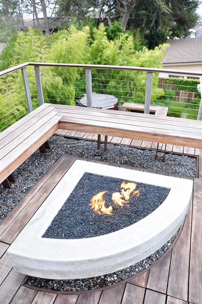 Backyard Bbq Pit for a Contemporary Patio with a Wood Patio and Falling Cliff by Jeffrey Gordon Smith Landscape Architecture