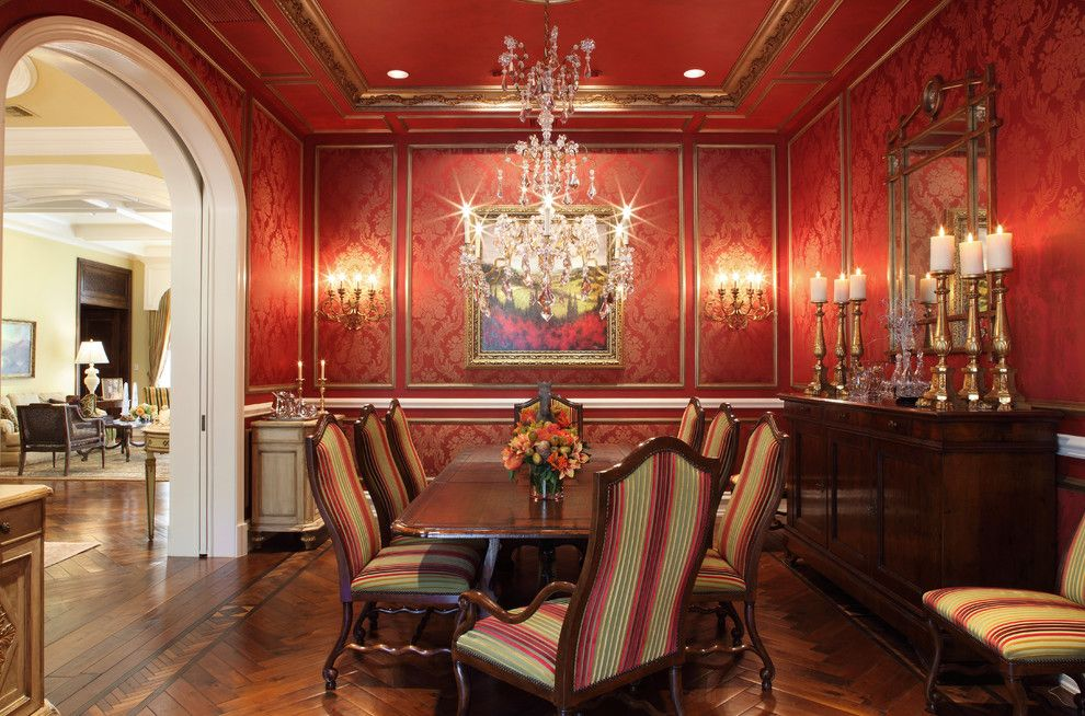 Bagcraft Papercon for a Traditional Dining Room with a Gold Frame Molding and Hillsboro Mile   Private Residence by Ferwerda Interior Design