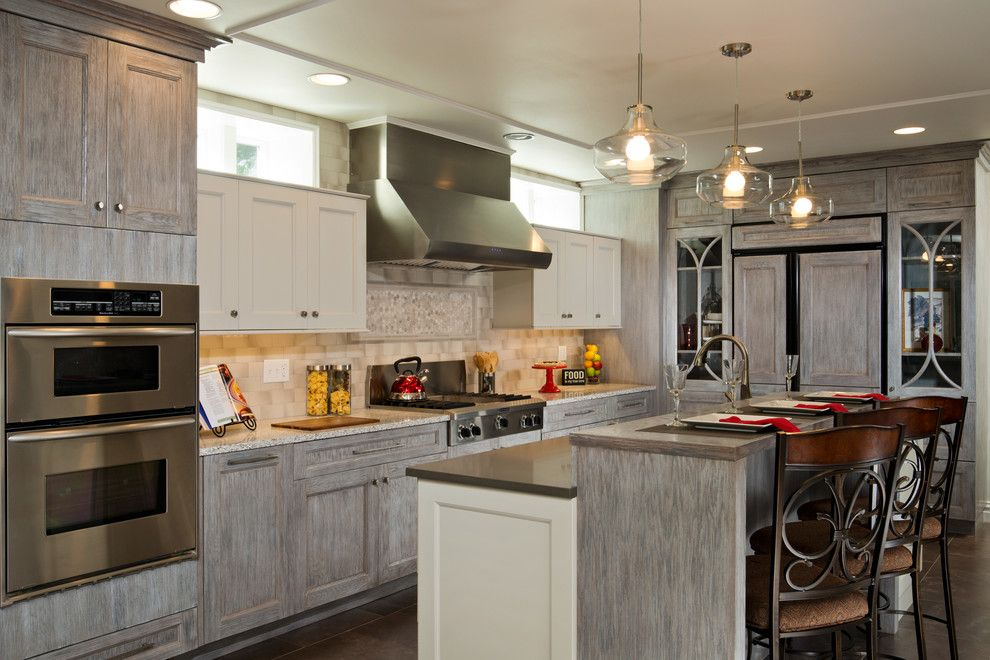 Bagcraft Papercon for a Transitional Kitchen with a Milk Glass Pendant Light and Cobble Hill by Kitchen and Bath World, Inc