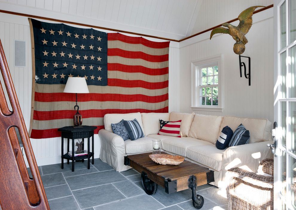 Bald Eagle Wingspan for a Beach Style Living Room with a Tongue and Groove Ceiling and Beach Style Living Room by Patrickahearn.com