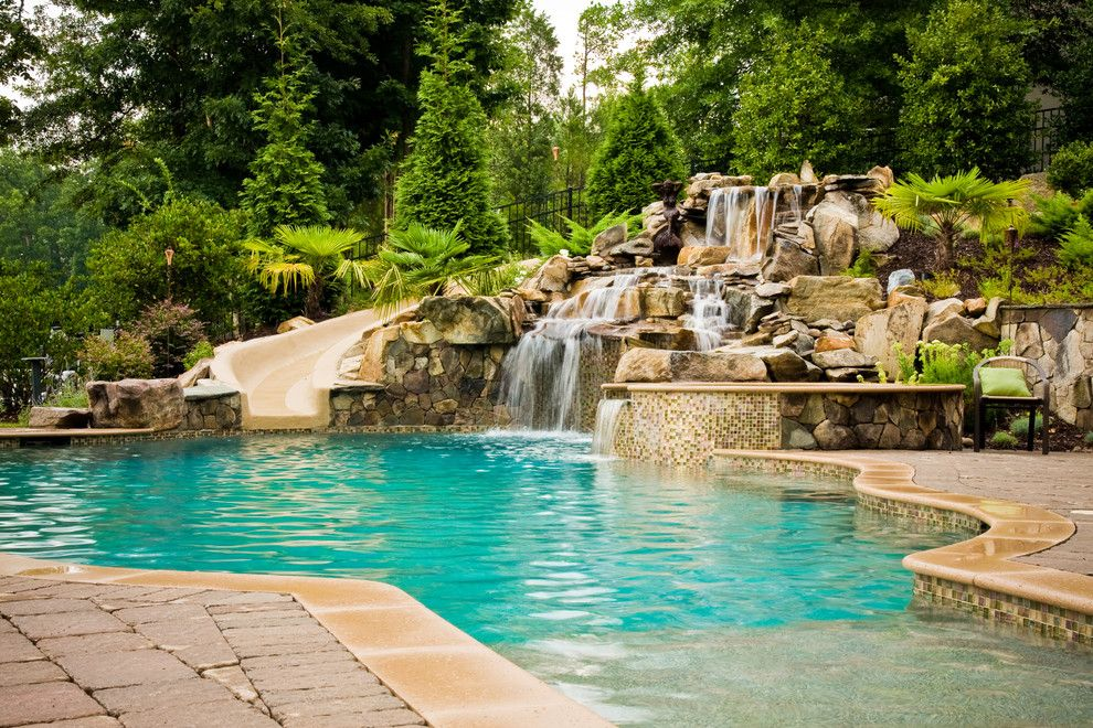Ballantyne Spa for a Tropical Spaces with a Hot Tub and Ballantyne Tropical Oasis by Coogan's Landscape Design