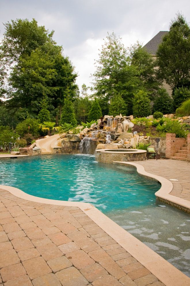 Ballantyne Spa for a Tropical Spaces with a Tropical Pool and Ballantyne Tropical Oasis by Coogan's Landscape Design