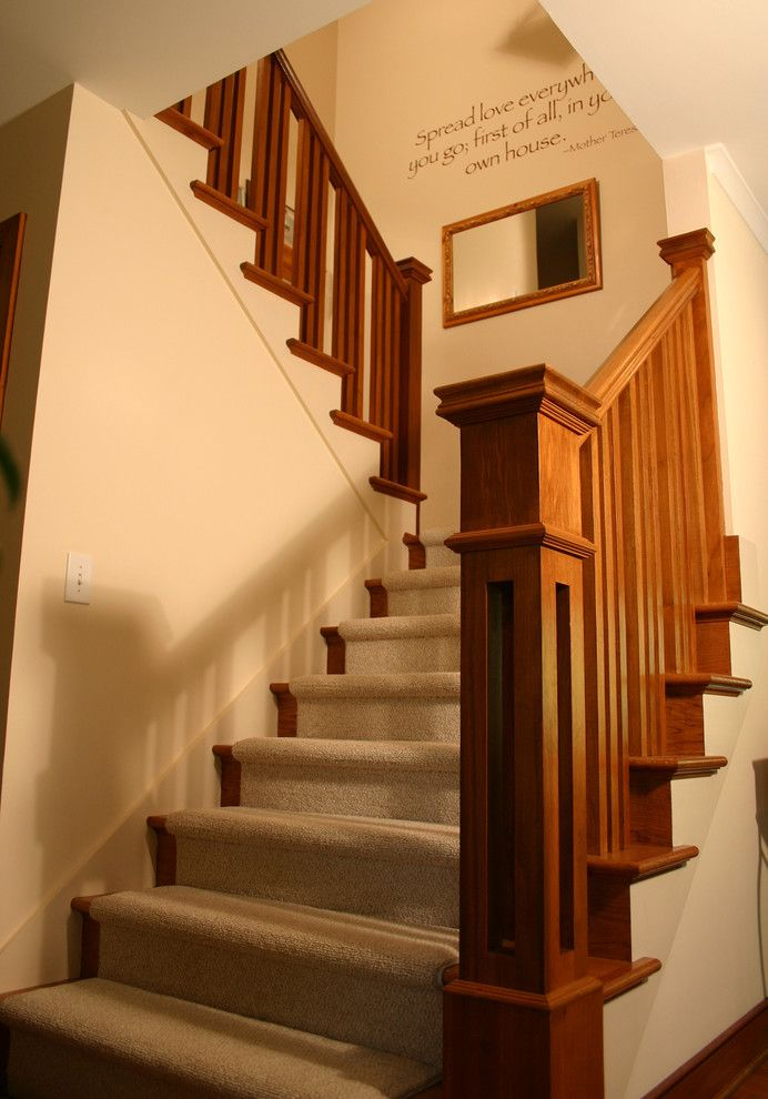 Baluster Spacing for a Craftsman Staircase with a Handrail and Prairie Style Ranch Remodel: Staircase and Railing Detail by Rta Studio Residential Architects