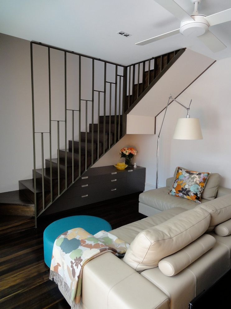 Baluster Spacing for a Modern Family Room with a Throw and Rozelle Cottage by Scott Weston Architecture Design Pl