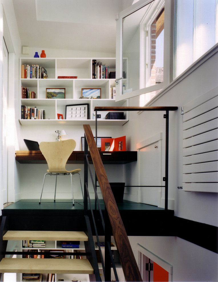 Baluster Spacing for a Modern Home Office with a Built in Desk and Carroll Gardens Abode by Cwb Architects
