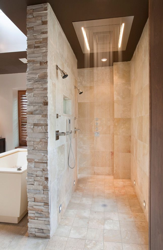 Bamboo Cutting Board Care for a Contemporary Bathroom with a Rain Shower Head and 19th St by Art Design Build