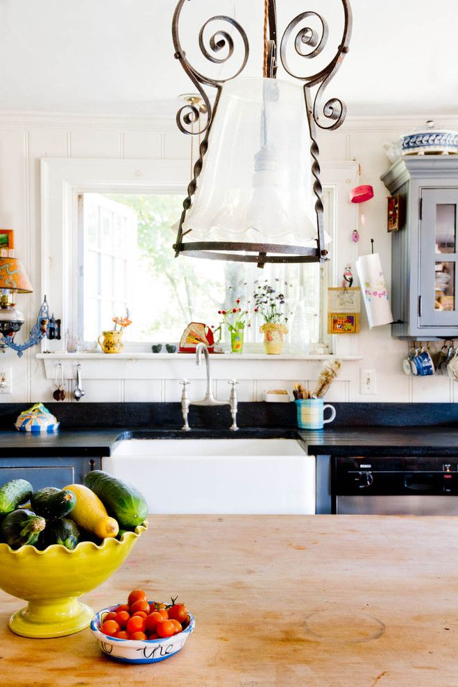 Bamboo Cutting Board Care for a Farmhouse Kitchen with a Pendant Lighting and My Houzz: An Antique Cape Cod House Explodes with Color by Rikki Snyder