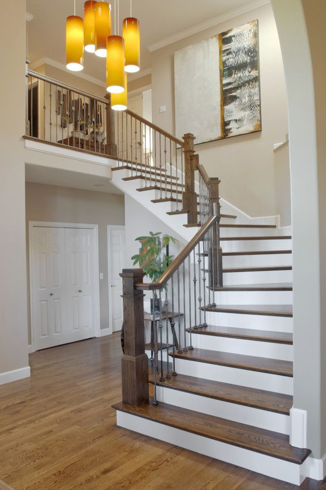 Bamboo Sherman Oaks for a Contemporary Staircase with a Grey Wall and Allen Residence   Whole Home Design and Remodel by Jason Ball Interiors, Llc