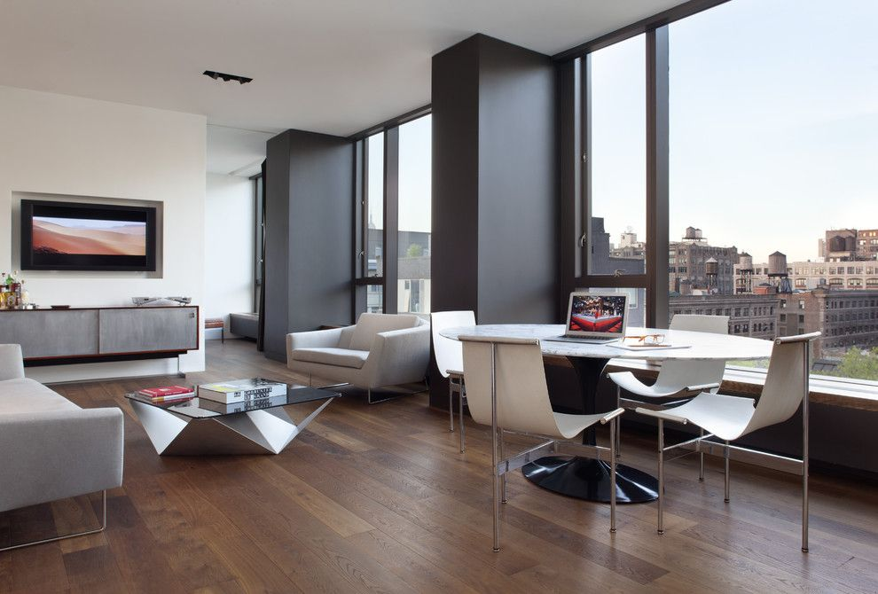 Bamboo Sherman Oaks for a Modern Dining Room with a Gray Armchair and Soho Condominium by Ccs Architecture