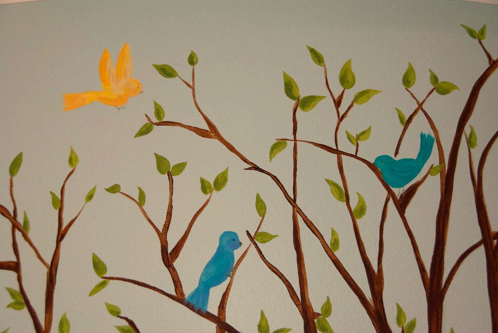 Banana Leaf Dallas for a  Spaces with a Branch and Lovebirds Nursery by Banana, Ink.  a Creative Studio