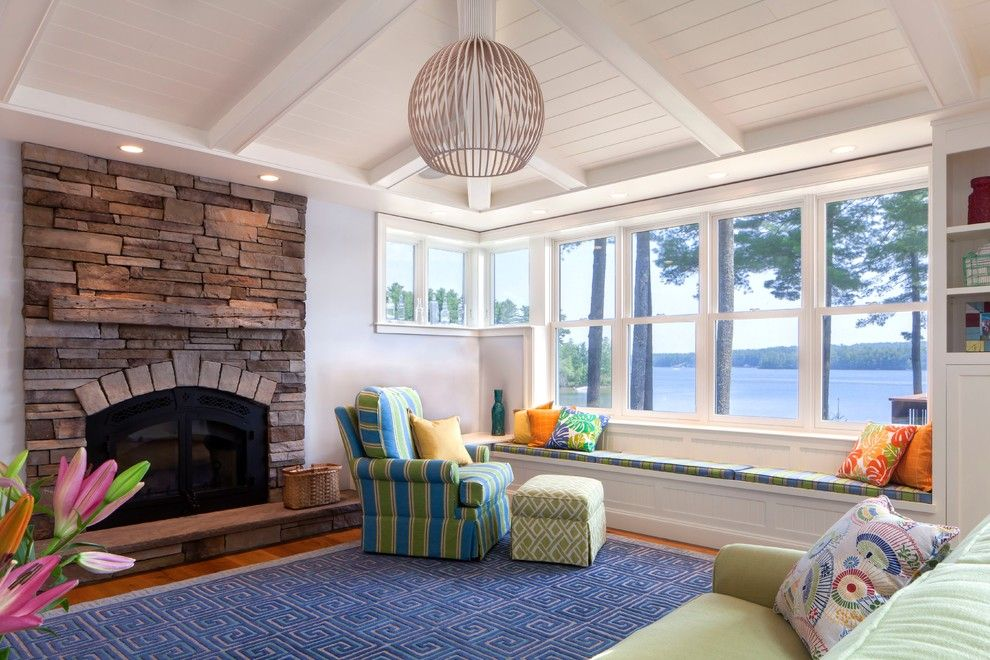 Banc Home Loans for a Beach Style Living Room with a Vacation Home and Lakestone by Kaplan Thompson Architects