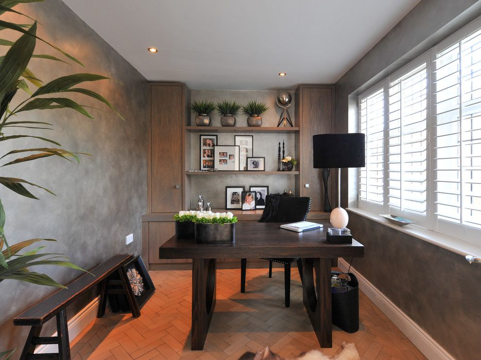 Banc Home Loans for a Contemporary Home Office with a Herringbone Tile and Pilgrims Way by 50 Degrees North Architects