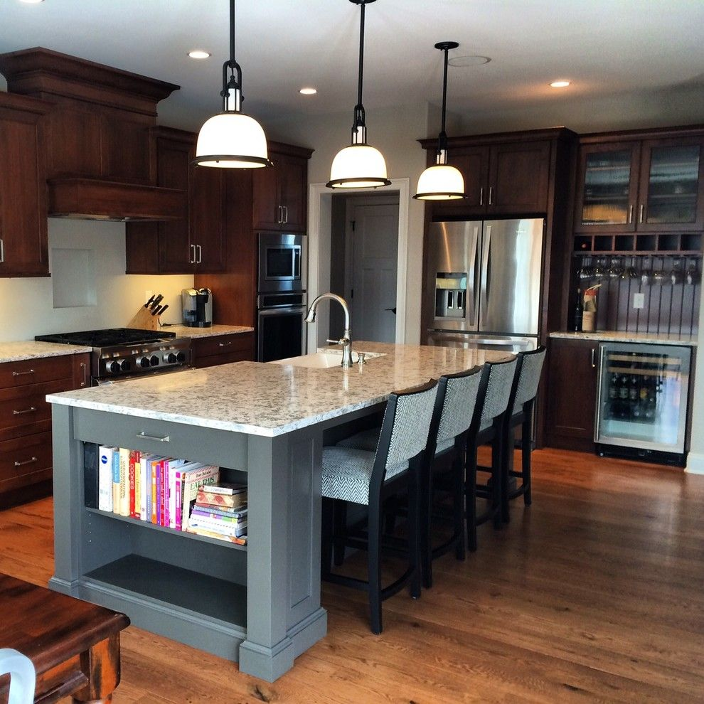 Bar Method Oakland for a Traditional Kitchen with a Gray Painted Island and Gray: Color of the Moment by Columbia Cabinets