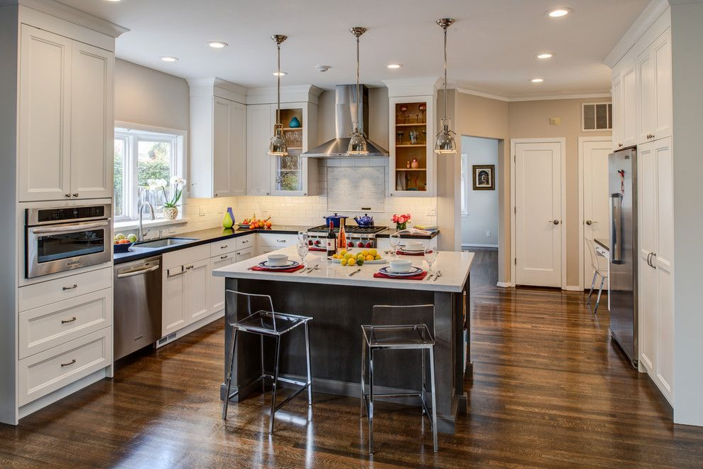 Bar Method Oakland for a Transitional Kitchen with a Lighting and Oakland Kitchen & Living Space Remodel by Hdr Remodeling Inc.