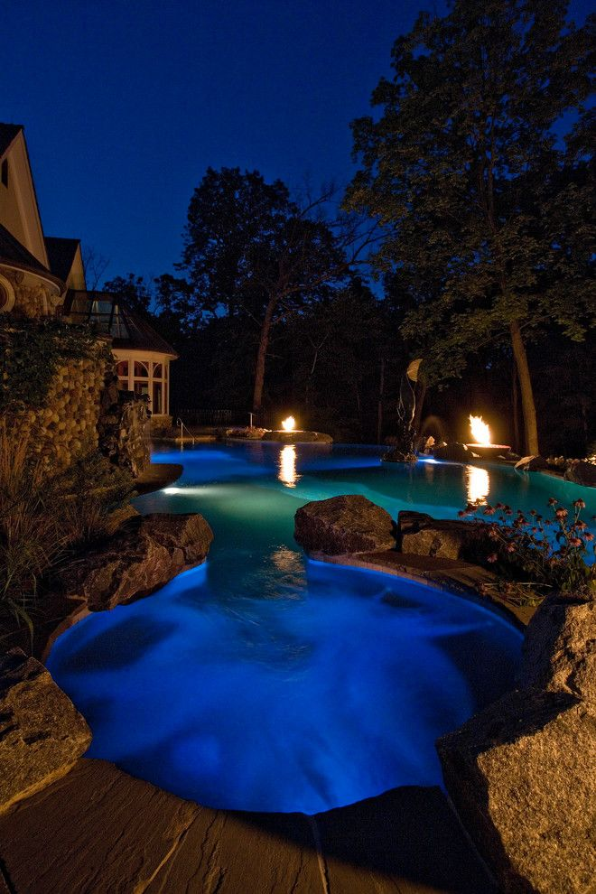 Barrington Estates for a Mediterranean Pool with a Swimming Pool Hot Tub and Barrington Hills Indoor/outdoor Estate Project by Platinum Poolcare