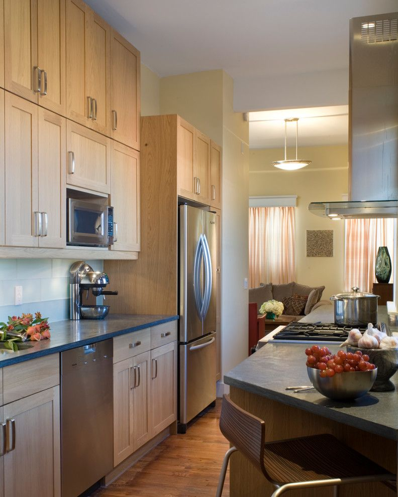 Barrow Furniture for a Transitional Kitchen with a Color Consulting and Brooklyn Penthouse by Village West Design