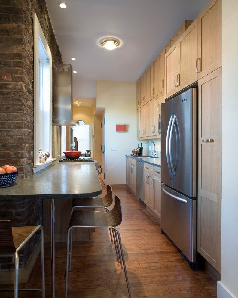 Barrow Furniture for a Transitional Kitchen with a Decorator and Brooklyn Penthouse by Village West Design