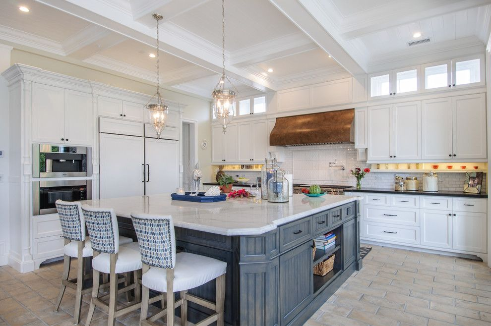 Barstol for a Beach Style Kitchen with a Kitchen Pendants and Manhattan Beach Cape Cod Home by Home Beach Designs