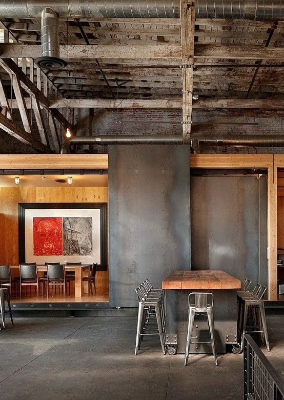 Barstol for a Industrial Dining Room with a Exposed Rafters and the Lofts by Salt Homes