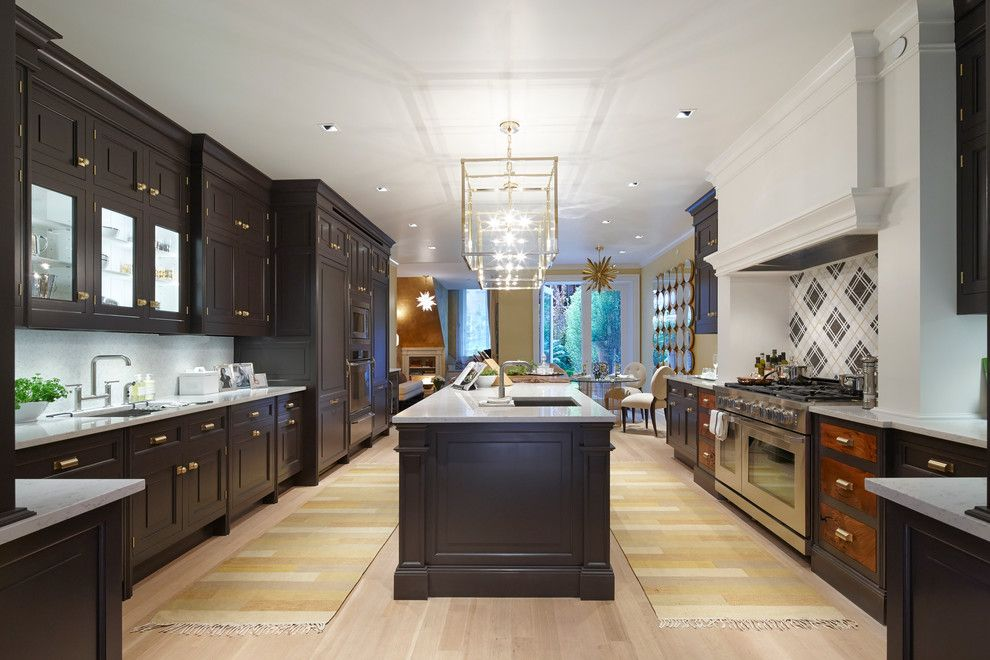 Basketball Court Layout for a Contemporary Kitchen with a Plaid Backsplash and Kohler by Kohler